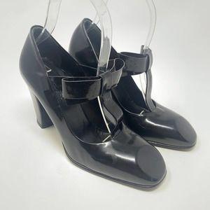 Viktor & Rolf Black Patent Bow T-Strap Heels